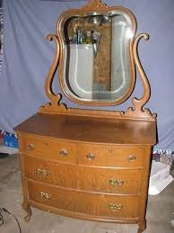 Tiger Oak Dresser With Swivel Mirror by Furniture Antique Price Guide