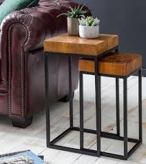 wohnling design satztisch wl5 660 sheesham metall beistelltisch 2er set klein couchtisch set 2 holz tische massivholz wohnzimmertisch