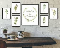 Unframed Watercolor Herb Wall Art Kitchen Set Gallery French
