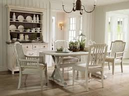 White Wood Dining Room Table And Country Style Chairs