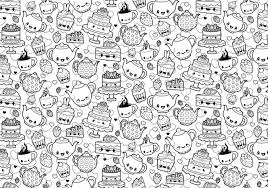 Tea Party Coloring Page 104335 Plants Doodle Printable Cute Kawaii