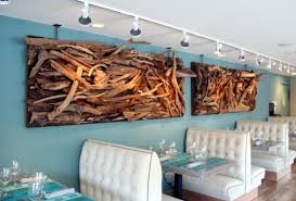 Wall Art Ideas Design Blue Wallpaper Driftwood Stained Varnished Furniture Rectangle Large Size Restaurant Cafe Top For Sale