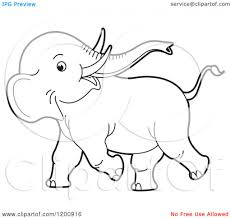 Coloring Book Royalty Cartoon Drawing Of Elephant A Cute Black And White Outlined Playful Baby