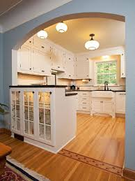 Cabinets And Schoolhouse Lights 1940 Kitchen Design Ideas Pictures Remodel Decor Open Wall Between Dining Room Arch To Match Rest Of Main
