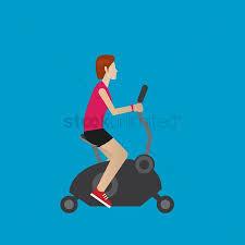 1900714 Gym Cycle Woman On An Exercise Bike