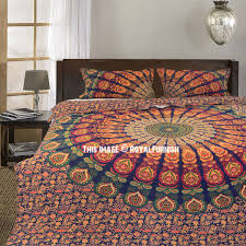 Multi Plum and Bow Devi Mandala Duvet Covers with Set of 2 Pillow