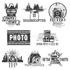 Download Vector Photography Theme Set In Vintage Style Monochrome Logo Banner Badges Or