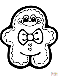 Cute Christmas Coloring Pages Gingerbread Man Page Free Printable Online