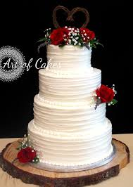 Romantic Wedding Cake Rustic 4 Tier Red Roses
