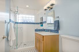 blue mosaic tile bathroom contemporary with above counter sink