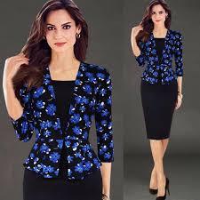 Ladies Vintage Uniform Suits 3 4 Sleeve Elegant Bodycon Suit Pencil Formal Office Wear Women To