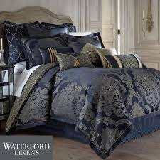J Queen New York Kingsbridge Curtains by Vaughn Navy Comforter Bedding By Waterford Linens Comforter