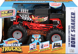 100 Monster Truck Remote Control New Bright RC 114 Radio Hot Wheels Bone Shaker 24 GHz USB Black