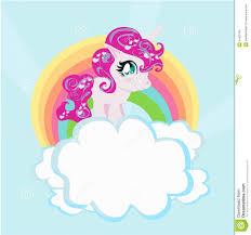 Download Card With A Cute Unicorn Rainbow In The Clouds Stock Vector