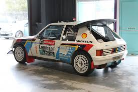 Peugeot 205 T16 rally car in action at the Monte Carlo rally WRC