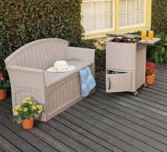 suncast elements loveseat with storage white patio image