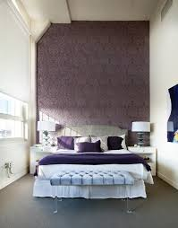 Purple Bedroom Accent Wall Contemporary With Stylish Cotton Decorative Pillow Covers