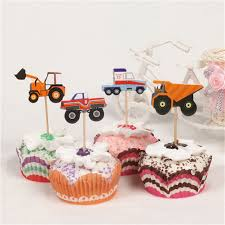 100 Truck Wedding Cake 24pcs Kids Gift Birthday Party Wedding Cake Flag Cartoon Car Truck