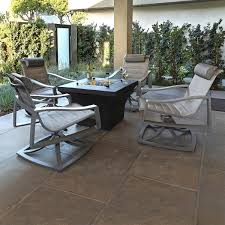 Portofino Patio Furniture Canada by Portofino Modern Sling 5 Piece Motion Fire Chat Set