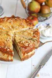 german apple cheesecake with almond topping bake to the roots