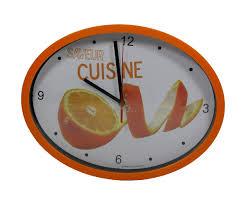 horloge de cuisine horloge murale design ovale cuisine saveur orange pulpeuse
