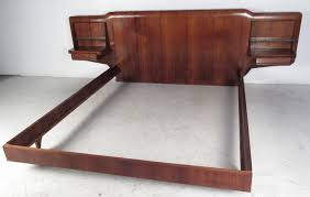 mid century solid wood king size low platform bed frame with