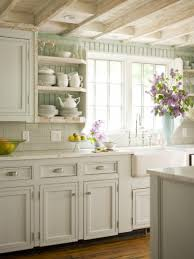 Milk White Kitchen Cabinetry Light Subway Tile Backsplash Rustic Stained Wooden Plank Ceiling Walnut Flooring Single Bowl Apron Sink On Carrara