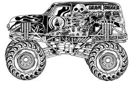 Grave Digger Coloring Page Monster Truck Kids Play Color In Sonic Characters Pages