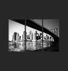 tableau triptyque contemporain pont de en noir et blanc