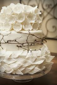 Cake White Wedding With Leaves And Flowers Twig Accent