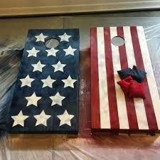 American Flag Cornhole Boards I Painted These Weathered To Go For A Rustic