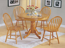amazon com 5pc country style oak finish wood round dining table