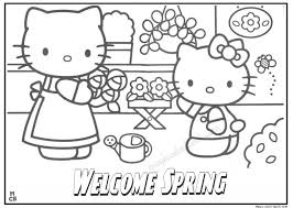 Welcome Spring Kitty Coloring Pages