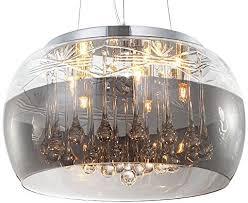 kristall led deckenle pendelleuchte deckenleuchte hängeleuchte lüster kronleuchter esszimmer glas lenschirm design modern ø 40cm 5xg9 fassungen