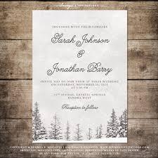 Winter Wedding Invitation Snowflake Wonderland Set Landscape Save The Date Kit