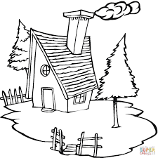 Click The Cottage In Village Coloring Pages