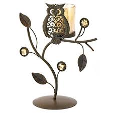 Gifts Decor Wise Owl Ornamental Vine Leaf Votive Candleholder Stand