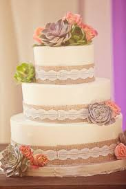 Rustic Wedding Cake With Burlap And Succulent