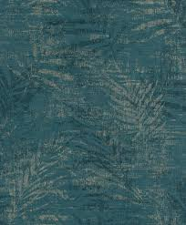 non woven wallpaper fern petrol gold 546637