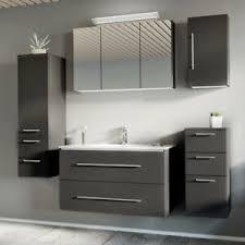 details zu badmöbel set anthrazit keramik waschtisch led spiegelschrank badezimmer komplett