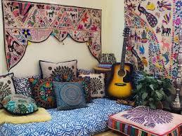 hippie decor set floor seating area boho canopy with