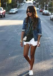 White Shorts Tee Denim Shirt Converse Wish I Was This Tan