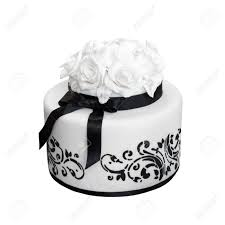 Elegant Black And White Wedding Cake Isolated On Stock Photo