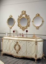 casa padrino luxus barock wohnzimmer set weiß antik gold prunkvolle barock kommode und 3 wandspiegel barockmöbel