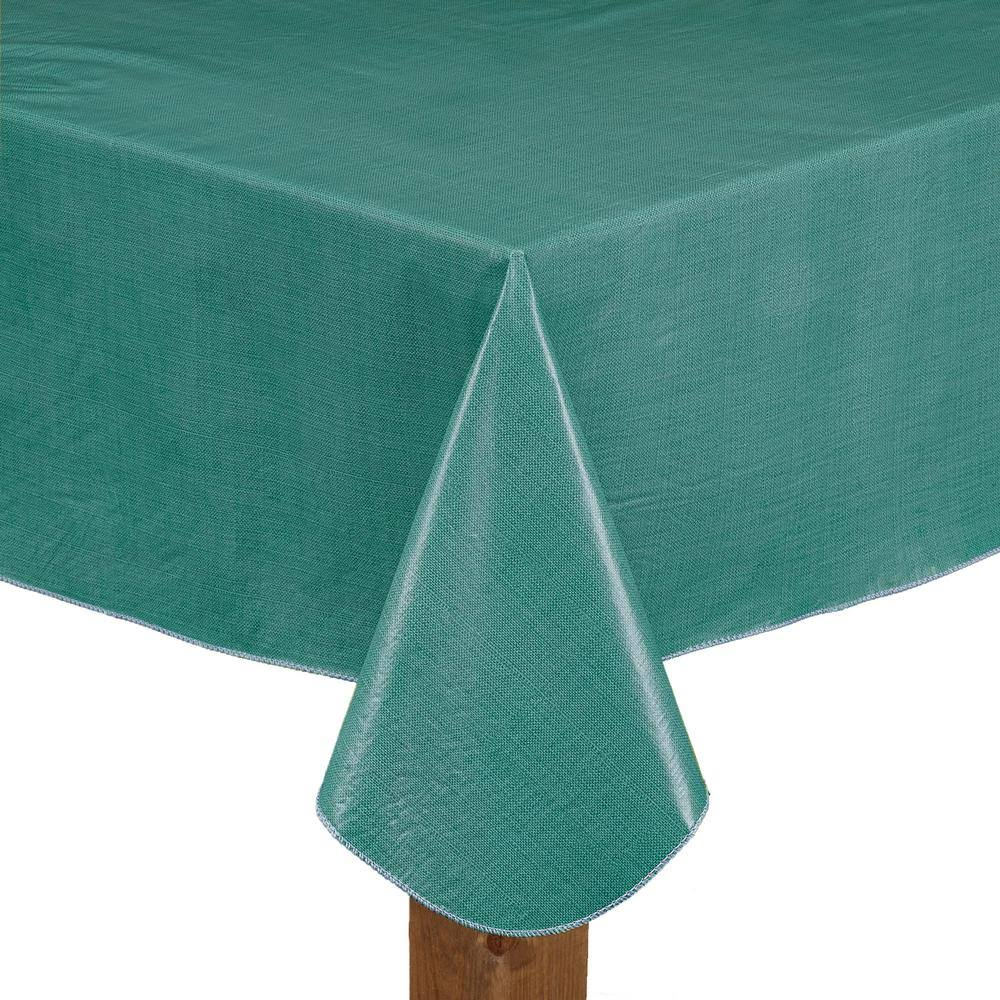 "Lintex Cafe Deauville Vinyl Tablecloth 70"" Round / Teal"