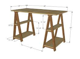 Building A Simple Wood Desk by Ana White 1x3 Sawhorse Desk Diy Projects
