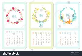 Beautiful 2017 Calendar Pages With Hand Drawn Rustic Floral Wreathes And Written Font For Your