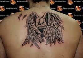 Back Tattoo Of Fallen Angel