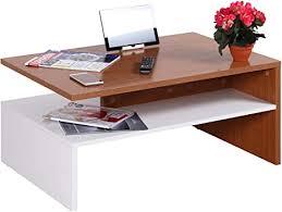 ricoo wm080 w er kleiner tisch 90 x 60 x 42 cm holz hell weiß und eiche rustikal braun fernseher tv wohnzimmer tisch tisch mit stauraum