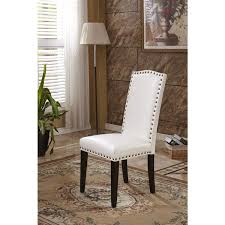 Cheap Leather Parsons Chairs by Classic Faux Leather Parson Chairs With Nailhead Trim Set Of 2